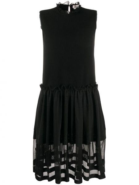 Шелковое черное платье без рукавов Alexander Mcqueen
