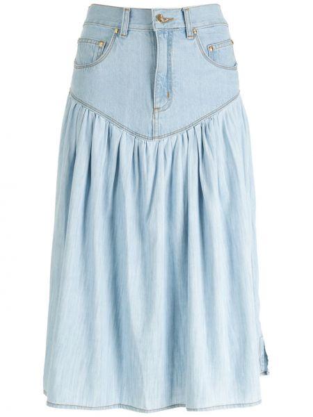 Синяя хлопковая юбка миди Amapô