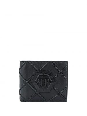 Czarny portfel z gniazdem z prawdziwej skóry z łatami Philipp Plein