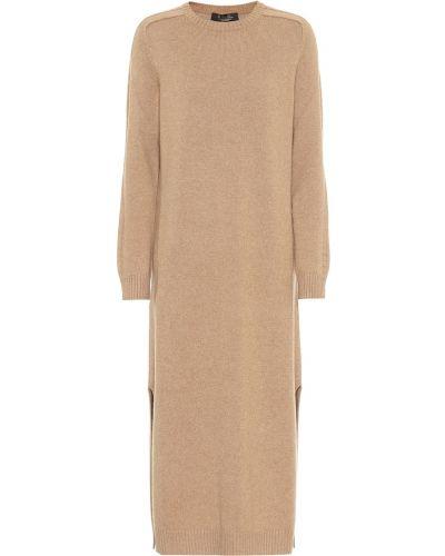 Кашемировое коричневое классическое вечернее платье Loro Piana