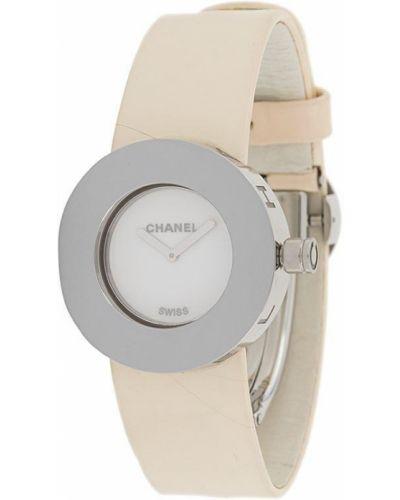 Кожаные с ремешком белые часы на кожаном ремешке круглые Chanel Pre-owned