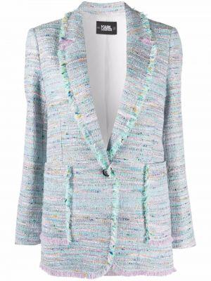 Niebieska długa kurtka z frędzlami bawełniana Karl Lagerfeld