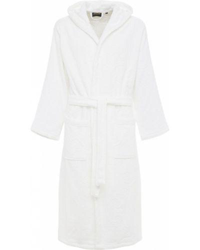 Biały szlafrok bawełniany z kapturem Roberto Cavalli