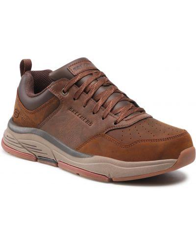 Buty sportowe skorzane - brązowe Skechers