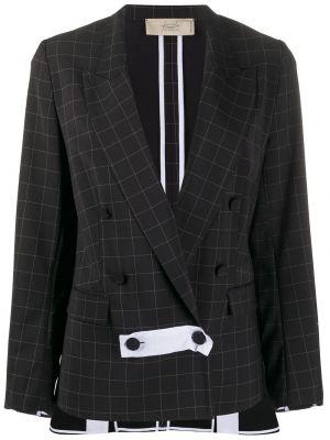 Черный пиджак двубортный с карманами Maison Flaneur
