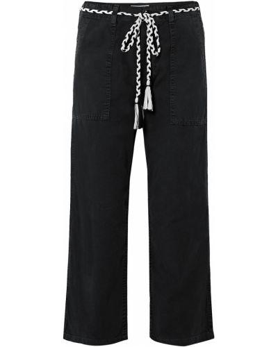 Хлопковые прямые черные брюки The Great.