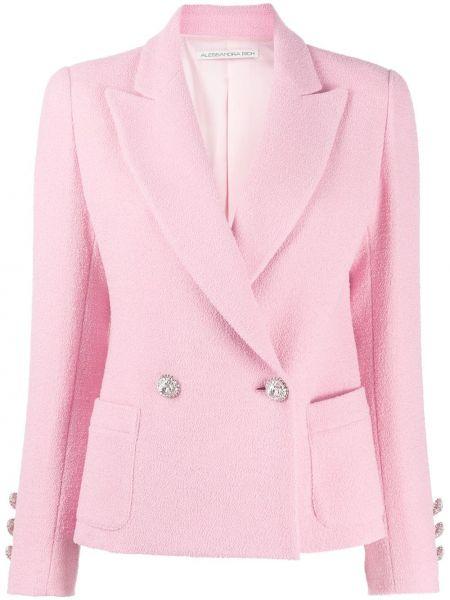 Розовый приталенный пиджак двубортный Alessandra Rich