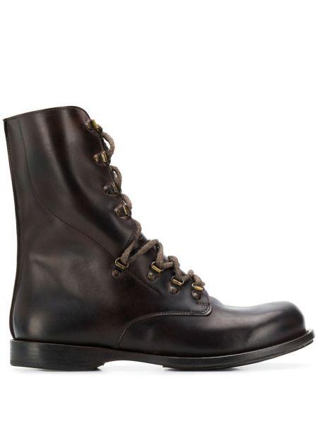 Кожаные коричневые кожаные ботинки на шнуровке на плоской подошве Cherevichkiotvichki