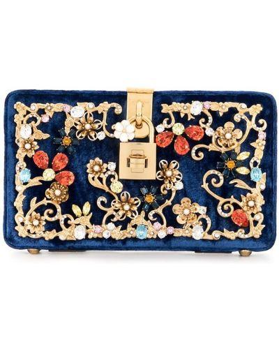 Бархатный синий клатч прямоугольный с подкладкой Dolce & Gabbana Pre-owned