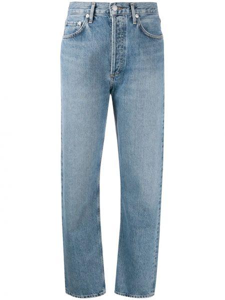 Bawełna bawełna niebieski jeansy chłopaki z paskiem Agolde