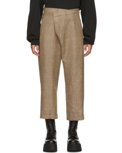 Укороченные брюки в клетку стрейч R13