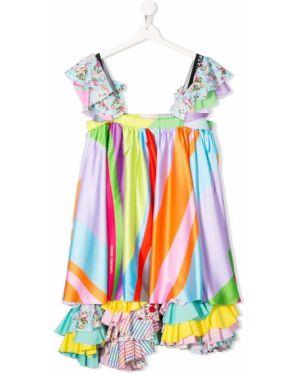 Асимметричное розовое платье с открытой спиной с декоративной отделкой Natasha Zinko Kids