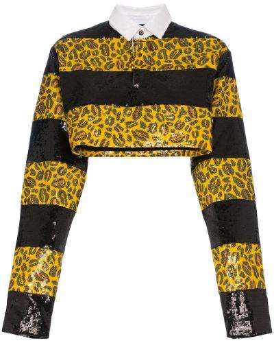 Желтая классическая рубашка на пуговицах с пайетками Charm`s