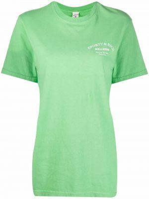 Zielona koszulka z printem Sporty And Rich