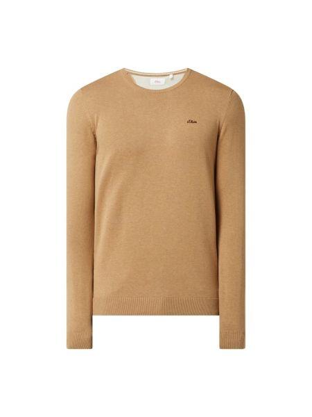 Sweter z dekoltem w serek - brązowy S.oliver Red Label