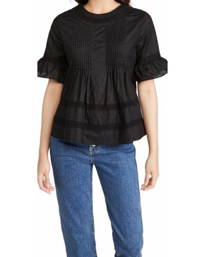 Кружевная черная блузка с оборками English Factory