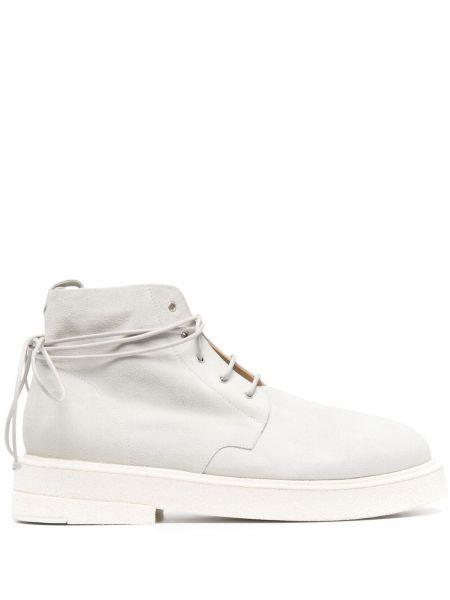 Białe ankle boots skorzane koronkowe Marsell