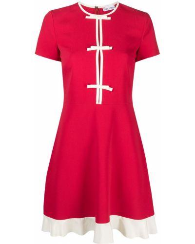 С рукавами красное платье мини с вырезом Red Valentino