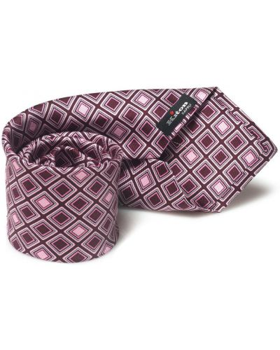 Różowy krawat z jedwabiu z diamentem Kiton