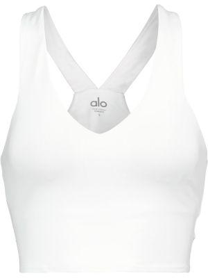 Biały biustonosz sportowy z nylonu Alo Yoga