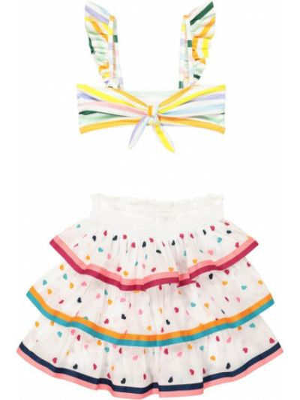 Biała spódnica bawełniana z haftem Zimmermann Kids