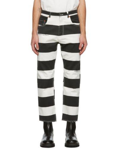 Белые укороченные брюки с нашивками стрейч с манжетами Vyner Articles