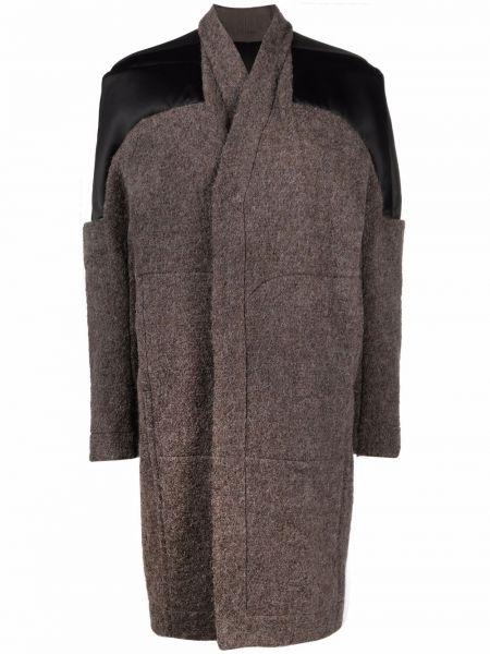 Długi płaszcz wełniany - brązowy Rick Owens