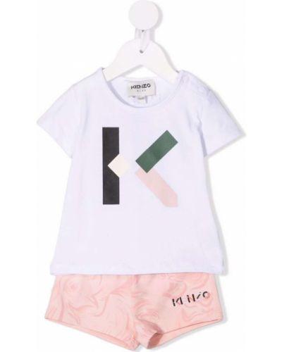 Różowy dres bawełniany krótki rękaw Kenzo Kids