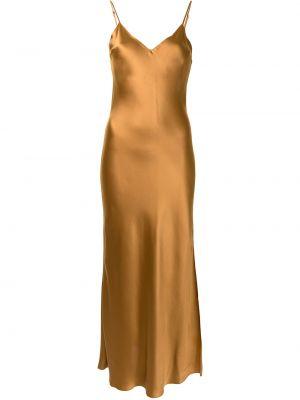 Brązowa sukienka długa z jedwabiu bez rękawów Dannijo