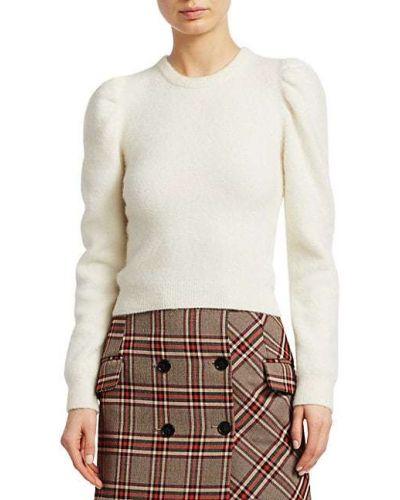 Мягкий шерстяной белый длинный свитер Derek Lam