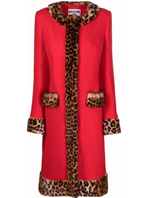 Красное шерстяное пальто Moschino