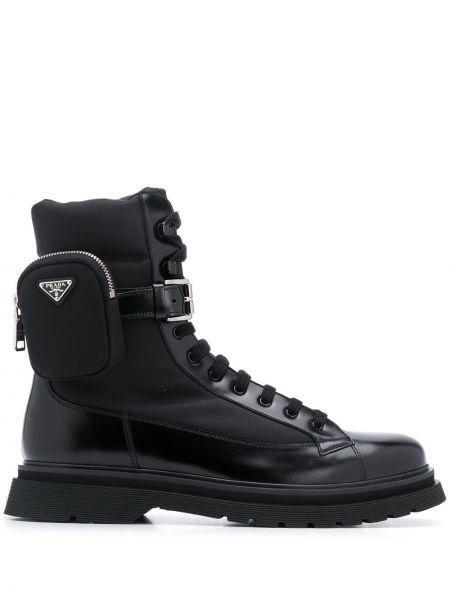 Włókienniczy ażurowy czarny buty skórzane zasznurować Prada