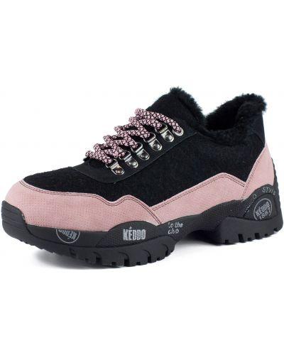 Кожаные черные кроссовки на шнуровке Keddo