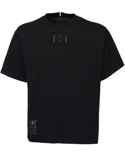 Czarny t-shirt bawełniany z haftem Mcq Alexander Mcqueen