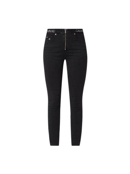 Bawełna czarny jeansy na wysokości chudy na gumce Calvin Klein Jeans