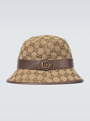 Brązowy kapelusz skórzany Gucci