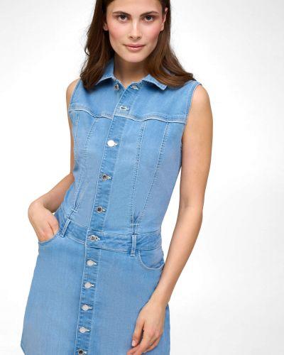 Niebieska sukienka jeansowa bez rękawów zapinane na guziki Orsay