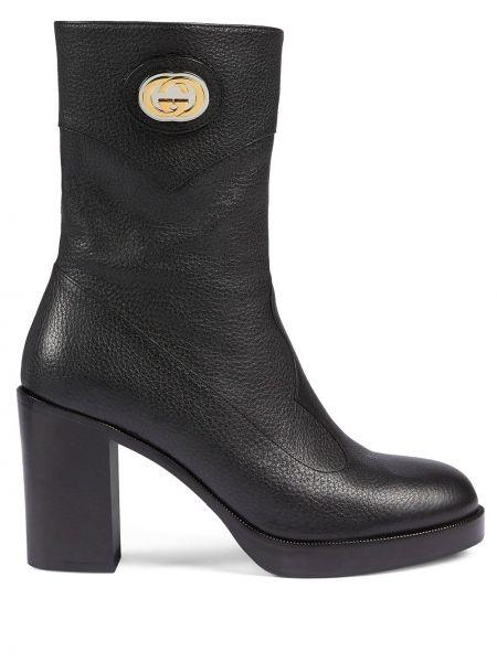 Czarny buty na pięcie na pięcie z prawdziwej skóry Gucci