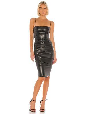 Czarna sukienka midi skórzana Nookie