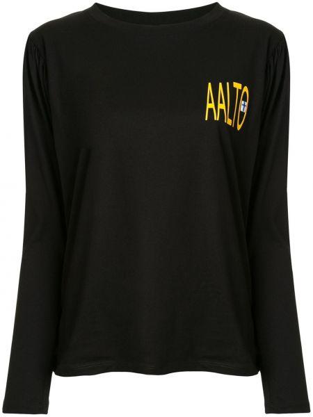 Czarny t-shirt z długimi rękawami bawełniany Aalto
