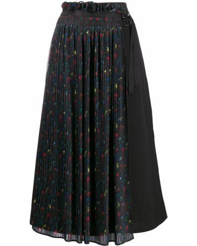 Черная плиссированная юбка с пряжкой Neul