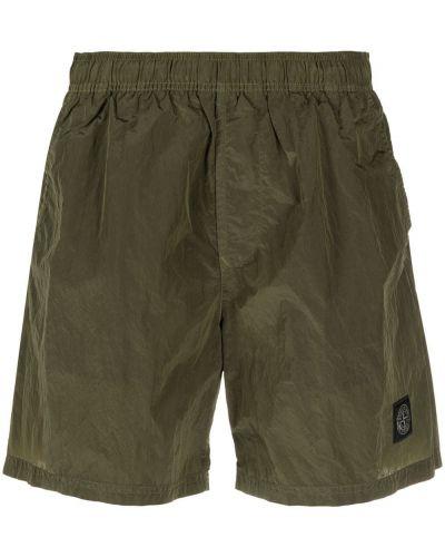 Зеленые шорты для плаванья с карманами с заплатками Stone Island