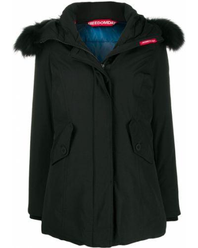 Прямая черная куртка с капюшоном из искусственного меха Freedomday