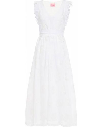 Biała sukienka midi z wiskozy z haftem Kate Spade New York