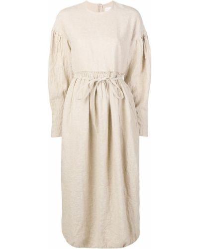 Свободное бежевое плиссированное льняное платье école De Curiosités