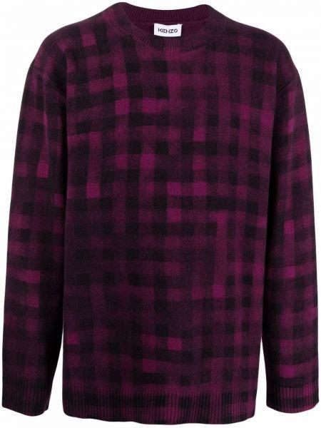 Fioletowy sweter wełniany z printem z długimi rękawami Kenzo