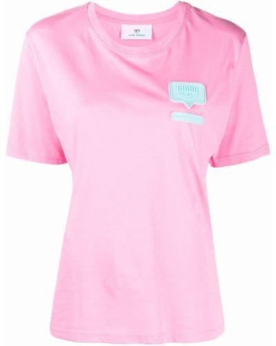 Розовая футболка с вырезом Chiara Ferragni