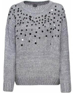 Пуловер с пайетками с аппликацией Bonprix
