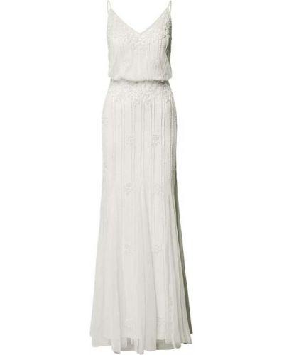 Biała sukienka z cekinami Lace & Beads