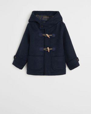 Płaszcz wełniany z kapturem zapinane na guziki Mango Kids